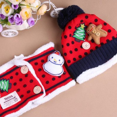 2PCS Double-deck Warm Knitted Cap Children Christmas Hat and Neckerchief - Red