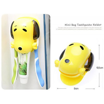 Wall Fix Sucker Design Cute Dog Style Toothbrush Holder and Tube Toothpaste Dispenser