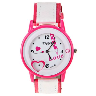 Гаджет   No.A852 Women Quartz Watch 4 Arabic Numbers and Dots Indicate Round Dial Leather Watchband - Pink