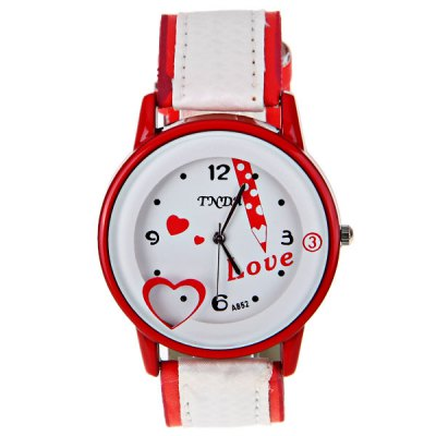 Гаджет   No.A852 Women Quartz Watch 4 Arabic Numbers and Dots Indicate Round Dial Leather Watchband - Red