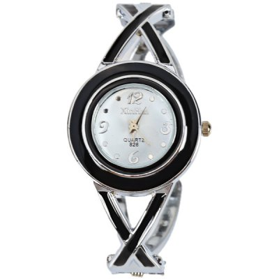 XinHua 826 Quartz Watch with 4 Arabic Numbers and Mini Dots Indicate Steel Watch Band for Women - White