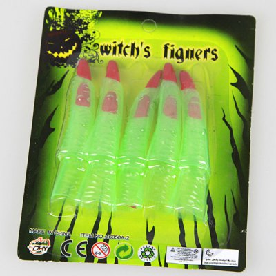 Halloween Props 10Pcs False Noctilucence Finger Set of Zombies Nail Witch Finger Set of Ghost Nail Fingertip