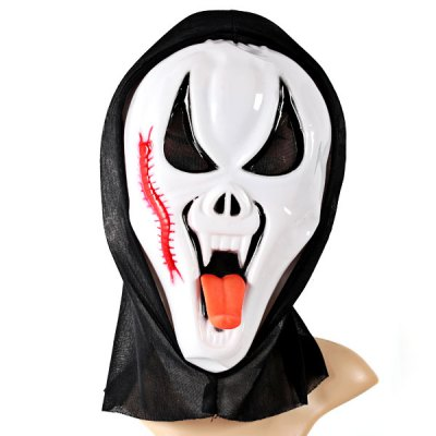 Фотография Halloween Ghost Long Tongue Cosplay Mask Eyes Make up Party Toy For Kids Mens - White and Black
