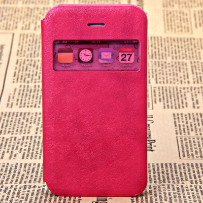 Fashion Style PC + PU Leather Shell Case for iPhone 5G with Call Display Function