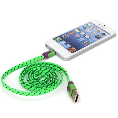 Portable Noodle Style 1M Nylon Fabric 8 Pin to USB Charger Sync Data Cable for iPhone 5