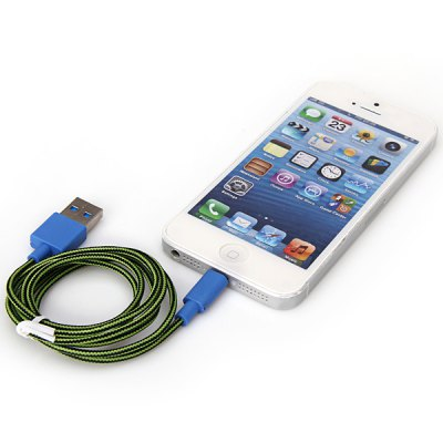 Cool Style 1M Fabric Lightning 8 Pin to USB Charger Sync Data Cable for iPhone 5 / 5S / 5C