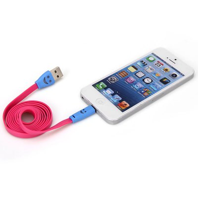 Portable Noodle Style Smiling Face 1M 8 Pin to USB Charger Sync Data Cable for iPhone 5 / 5S / 5C