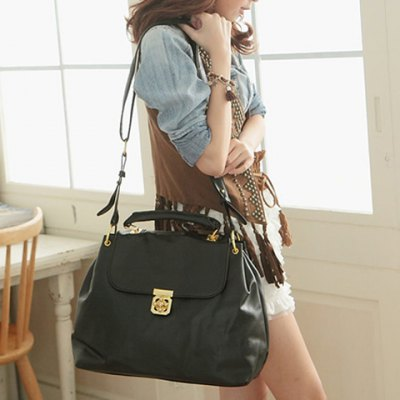 Solid Color and Flower Twist-Lock Design Tote Bag For Women