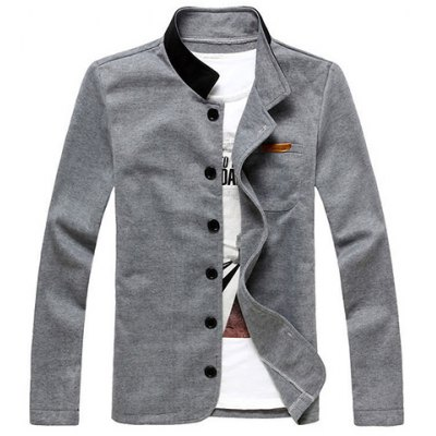 Color Splicing Stand Collar One Pocket Long Sleeves Polyester Blazer