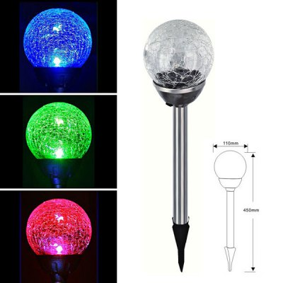 CIS-41285A Color Changing Solar Crackle Glass Stake Light