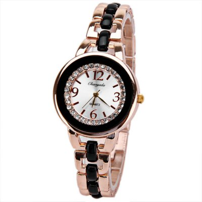 Beautiful Inlay Diamond Quartz Watch with 4 Numbers and Strips Indicate Hours Steel and Plastic Watch Band for Women - Black