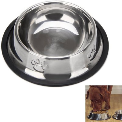 High Quality Stainless Steel Pet Bowl with Dog Footprints Pattern (15cm)