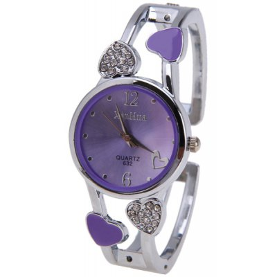 Beautiful Bracelet Watch with Heart Shape Diamond Inlay Round Dial 2 Arabic Numbers and Mini Heart Dots Hour Marks - Yellow