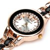 Beautiful Inlay Diamond Quartz Watch with 4 Numbers and Strips Indicate Hours Steel and Plastic Watch Band for Women - Black photo