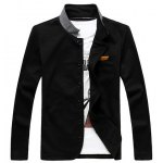 Korean Style Color Splicing Stand Collar One Pocket Long Sleeves Polyester Blazer For Men