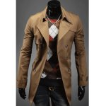 Buy Stylish Solid Color Turndown Collar Slit Back Design Double-Breasted Long Sleeves Polyester Trench Coat Men XL