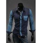 Buy Fashion Style Shirt Collar Purfled Design Plaid Splicing Long Sleeves Men's Polyester M NAVY