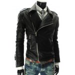Buy Fashion Style Turndown Collar Slimming Multi-Zipper Embellished Long Sleeves PU Leather Coat Men XL