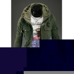 Buy Solid Color Double Turndown Collar Stereo Pockets Design Long Sleeves Polyester Coat Men M ARMY GREEN