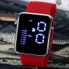 Waterproof Rubber Band Blue LED Screen Watches with Square Dial
