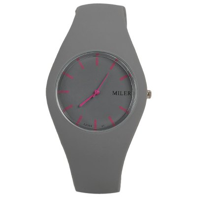 Гаджет   Miler Quartz Watch with Rectangles Indicate Rubber Watch Band for Women - Gray Women
