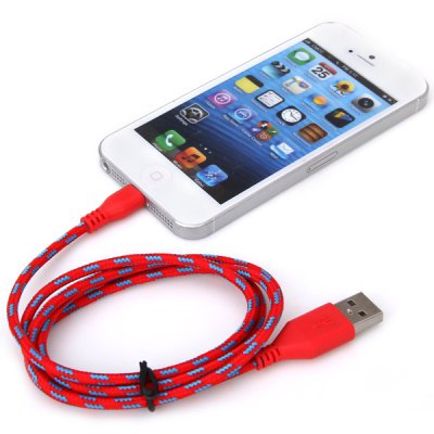 Portable Style 1M Fabric 8 Pin to USB Charger Sync Data Cable for iPhone 5 / 5C / 5S