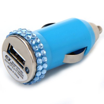 Fashion Rhinestones Style Tiny Car Charger for iPhone / Mobile Phone / MP3 / MP4 / etciPhone Cables &amp; Adapters<br>Fashion Rhinestones Style Tiny Car Charger for iPhone / Mobile Phone / MP3 / MP4 / etc<br><br>Compatibility: Universal<br>Type: Car Chargers<br>Color : Black, White, Pink, Blue, Purple<br>Input: 12/24V<br>Output: 5.0V/1A<br>Product weight : 12 g<br>Product size (L x W x H) : 5.5 x 2.6 x 2.6 cm<br>Package Contents: 1 x USB Car Charger