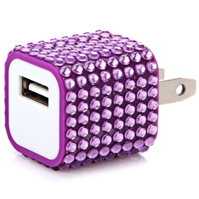 ФОТО Fashion Rhinestones Style US Plug Power Charger for Various Mobile Phones and Mobile Devices