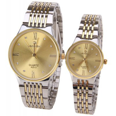 LaoGeShi Brand Couple Watch with Round Dial Steel Watchband