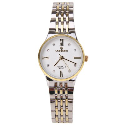 Гаджет   LaoGeShi Quartz Watch with Diamond Dots and Numbers Indicate Steel Watch Band for Women (White) Women