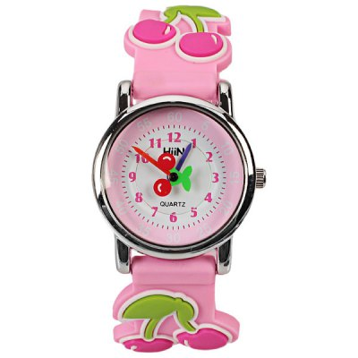 Beautiful Cartoon Rubber Strap Quartz Watch with Cherry Patterned Watchband for Children (Pink)Kids Watches<br>Beautiful Cartoon Rubber Strap Quartz Watch with Cherry Patterned Watchband for Children (Pink)<br><br>Watches categories: Children watch<br>Watch style: Lovely<br>Color: Pink<br>Movement type: Quartz watch<br>Shape of the dial: Round<br>Display type: Pointer<br>Case material: Stainless steel<br>Band material: Rubber<br>Clasp type: Pin buckle<br>Waterproof: Life waterproof<br>The dial thickness: 0.7 cm<br>The dial diameter: 2.7 cm<br>Product weight: 0.024 kg<br>Package weight: 0.074 kg<br>Product size (L x W x H) : 20.3 x 2.7 x 0.7 cm<br>Package size (L x W x H): 21.3 x 3.7 x 1.7 cm<br>Package contents: 1 x Watch