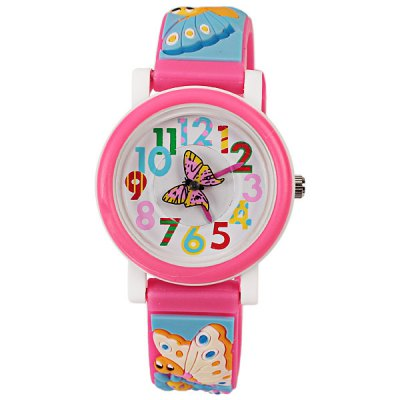 Beautiful Cartoon Rubber Strap Quartz Watch with Butterfly Patterned Watchband for Children (Watermelon Red)