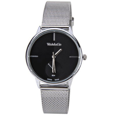 WoMaGe Quartz Watch with Strips Indicate Steel Watch Band for Women - BlackWoMaGe Quartz Watch with Strips Indicate Steel Watch Band for Women - Black<br><br>Brand: WoMaGe<br>Watches categories: Female table<br>Movement type: Quartz watch<br>Shape of the dial: Round<br>Display type: Pointer<br>Case color: Silver<br>Band material: Steel<br>Clasp type: Pin buckle<br>Special features: Decorating small one stitch<br>The dial thickness: 0.8 cm<br>The dial diameter: 3.3 cm<br>Product weight: 0.037 kg<br>Package weight: 0.087 kg<br>Product size (L x W x H) : 22.3 x 3.3 x 0.8 cm<br>Package size (L x W x H): 23.3 x 4.3 x 1.8 cm<br>Package contents: 1 x Watch