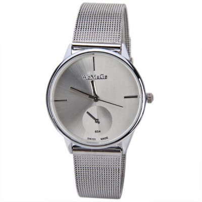 WoMaGe Quartz Watch with Strips Indicate Steel Watch Band for Women - WhiteWomens Watches<br>WoMaGe Quartz Watch with Strips Indicate Steel Watch Band for Women - White<br><br>Brand: WoMaGe<br>Watches categories: Female table<br>Movement type: Quartz watch<br>Shape of the dial: Round<br>Display type: Pointer<br>Case color: Silver<br>Band material: Steel<br>Clasp type: Pin buckle<br>Special features: Decorating small one stitch<br>The dial thickness: 0.8 cm<br>The dial diameter: 3.3 cm<br>Product weight: 0.037 kg<br>Package weight: 0.087 kg<br>Product size (L x W x H) : 22.3 x 3.3 x 0.8 cm<br>Package size (L x W x H): 23.3 x 4.3 x 1.8 cm<br>Package contents: 1 x Watch
