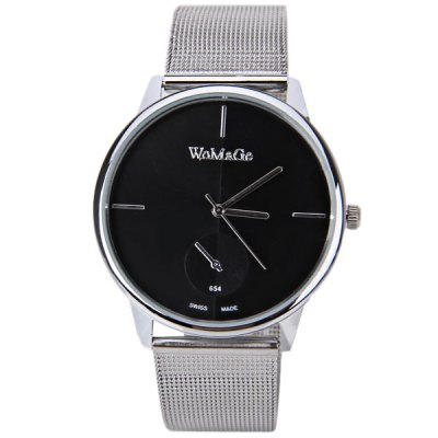 WoMaGe Swiss Watch with One Small Decorating Hand Round Dial and Steel Band