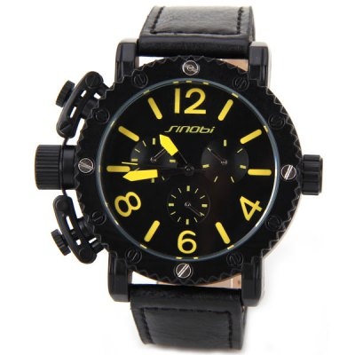 Гаджет   Sinobi Quartz Watch with Numbers and Cylinders Indicate Leather Watch Band for Men - Yellow Men