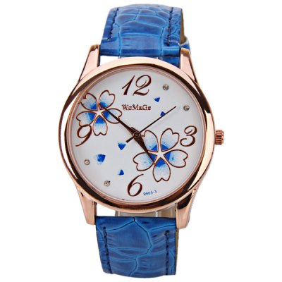 No.99653 Quartz Watch with Numbers and Dots Indicate Leather Watch Band Flower Pattern Dial for Women - Blue