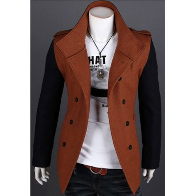 Color Block Long Sleeves Double-Breasted Woolen Coat