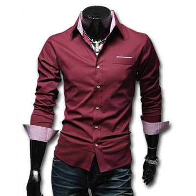 Shirt Collar Solid Color Long Sleeves Slimming Cotton Shirt