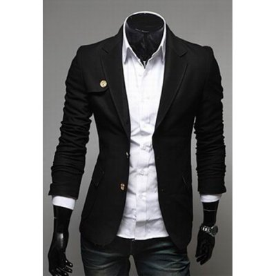 Гаджет   Fashionable Style Lapel Neck Long Sleeves Slimming Two Buttons Cotton Blazer For Men Jackets & Coats