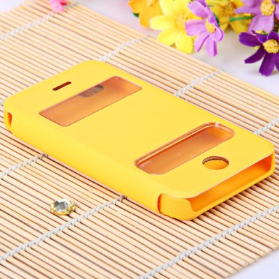 ФОТО PU Leather and Plastic Material Dormancy Function Intelligent View Window Design Stand Case for iPhone 4 / 4S - Yellow