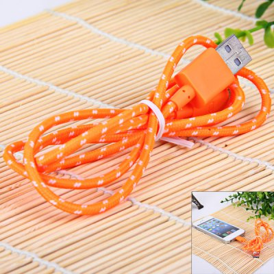 Portable Style 1M Fabric  8 Pin to USB Charger Sync Data Cable for iPhone 5 / 5S / 5C