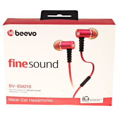 Фотография BV-EM210 Noodle Micro Cable High Resolution Metal In-Ear Headphone Earphone with Mic - Red