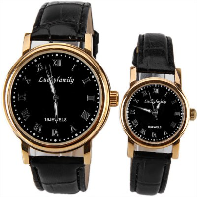 Mechanical Simple Design Watches with Round Dial and Leather BandMechanical Watches<br>Mechanical Simple Design Watches with Round Dial and Leather Band<br><br>Watches categories: Couple tables<br>Watch style: Fashion<br>Color: Black<br>Shape of the dial: Round<br>Movement type: Mechanical watch<br>Display type: Pointer<br>The bottom of the table: Ordinary<br>Case material: Stainless steel<br>Band material: Leather<br>Clasp type: Pin buckle<br>Special features: Three needle<br>Package weight: 0.169 kg<br>Package size (L x W x H): 25.2 x 5.2 x 1.8 cm<br>The male dial dimension (L x W x H): 4.7 x 4.1 x 0.8 cm<br>The male watch band dimension (L x W): 24.2 x 1.8 cm<br>The male watch weight: 0.045 kg<br>The male watch size (L x W x H): 24.2 x 4.1 x 0.8 cm<br>The female dial dimension (L x W x H): 3.3 x 2.7 x 0.8 cm<br>The female watch band dimension (L x W): 21 x 1.2 cm<br>The female watch weight: 0.024 kg<br>The female size (L x W x H): 21 x 2.7 x 0.8 cm<br>Package contents: 2 x Watch