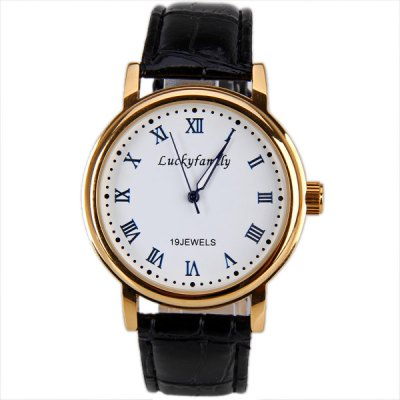 ФОТО Luckyfamily Mechanical Watch 12 Roman Numbers Hour Marks Round Dial with Leather Watchband for Men (White)