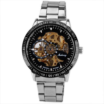 Гаджет   Mechanical Watches with  Hollow out Round Dial Design and Steel Band Mechanical Watches