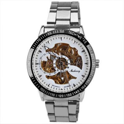 Mechanical Watches with  Hollow out Round Dial Design and Steel BandMechanical Watches<br>Mechanical Watches with  Hollow out Round Dial Design and Steel Band<br><br>Watches categories: Male table<br>Watch style: Fashion<br>Available color: White<br>Movement type: Mechanical watch<br>Shape of the dial: Round<br>Display type: Pointer<br>The bottom of the table: Gone<br>Case material: Metal<br>Case color: Black<br>Band material: Steel<br>Clasp type: Buckle<br>Band color: Silver<br>Special features: Three needles<br>The dial thickness: 1.2 cm<br>The dial diameter: 4.3 cm<br>Product weight: 0.102 kg<br>Package weight: 0.152 kg<br>Product size (L x W x H): 23.8 x 4.3 x 2.2 cm<br>Package size (L x W x H): 24.8 x 5.3 x 3.2 cm<br>Package Contents: 1 x Watch