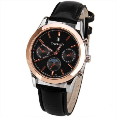 Cafuer Brand Unisex Watch with Square Dial Leather Watchband