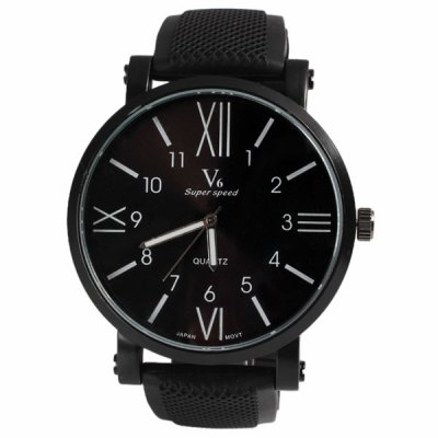 V6 Quartz Watch with Numbers and Strips Indicate Round Dial Rubber Watch Band for Men