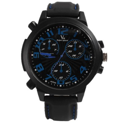 Гаджет   V6 Men Watch with 12 Arabic Numbers Hour Marks Round Dial Silicon Watchband Men